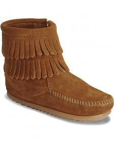 Minnetonka Infant Girls' Double Fringe Side Zip Moccasin Boots