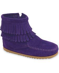 Minnetonka Infant Girls' Double Fringe Side Zip Moccasin Boots