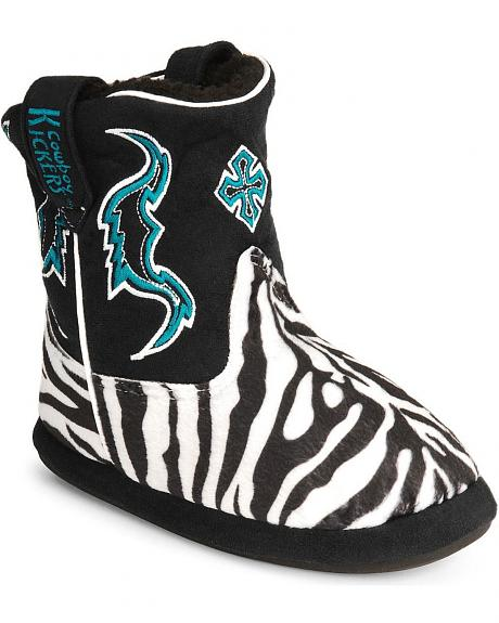 Montana Silversmiths Youth Zebra Cowboy Kickers - L/XL (3-5)