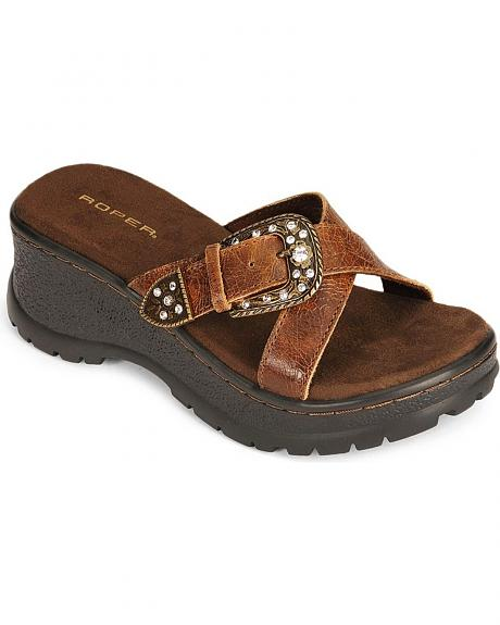 Roper Crackled Leather Wedge Sandal