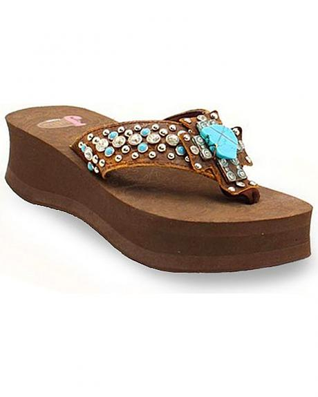 Justin Shawna Turquoise Cross Flip Flops
