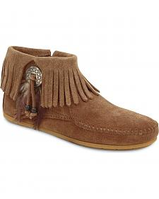 Minnetonka Feather & Concho Fringe Bootie Moccasins