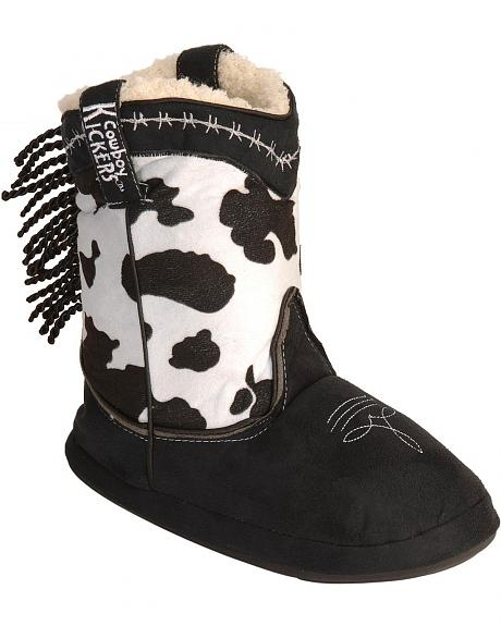 Montana Silversmiths Youth Cow Print Cowboy Kickers - L/XL