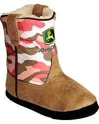 Montana Silversmiths Girls' John Deere Cowboy Kickers Pink Camouflage-S/M(12-2) at Sheplers