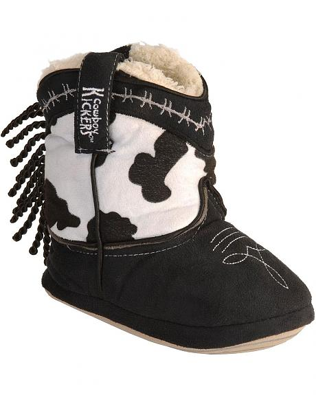 Montana Silversmiths Toddlers' Cowprint & Fringe Cowboy Kickers - XL(9-12)