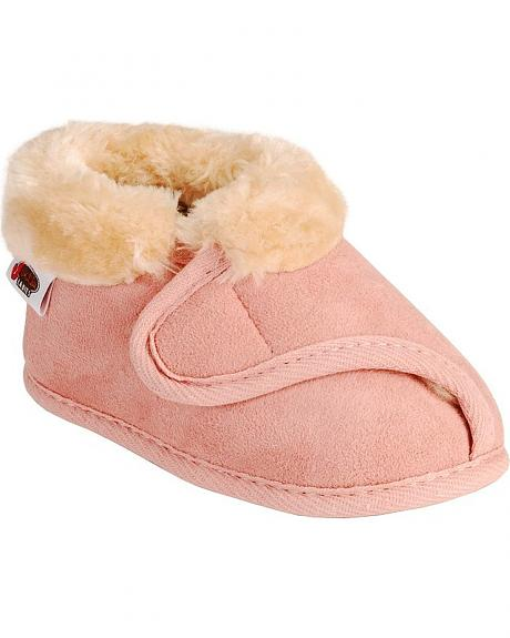 Justin Infant Girls' Faux Fur Pink Bootie Slipper