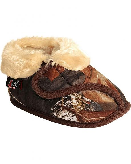 Justin Infant Boys' Faux Fur Camouflage Bootie Slipper
