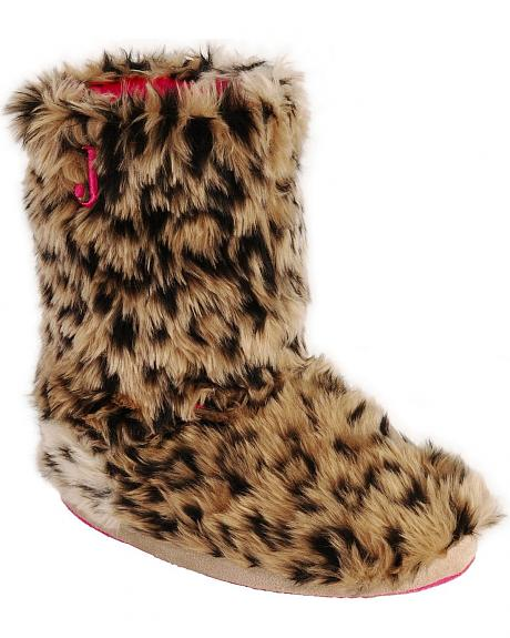 Justin Youth Girls' Faux Fur Slipper Booties