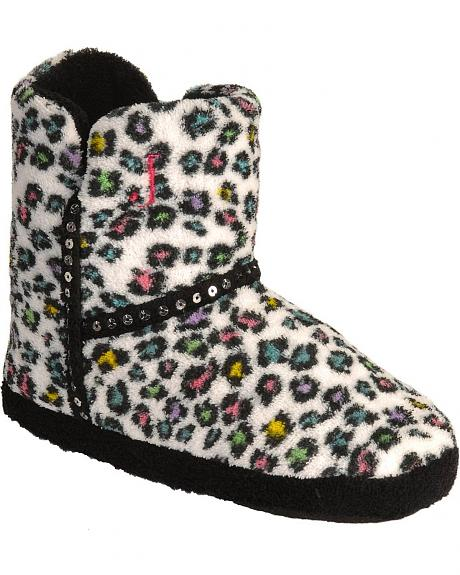 Justin Girls' Colorful Leopard Print Slipper Bootie