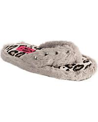 Justin Ladies Grey Faux Fur Flip-Flop Slipper at Sheplers