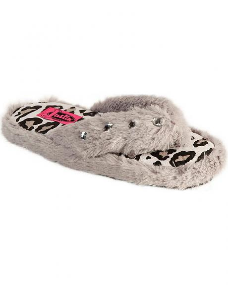 Justin Ladies' Grey Faux Fur Flip-Flop Slipper