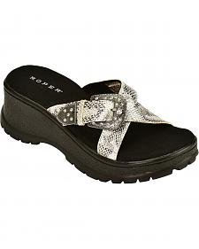 Roper Metallic Cross Strap with Buckle Wedge Sandals