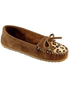 Women's Minnetonka Leopard Kiltie Moccasins