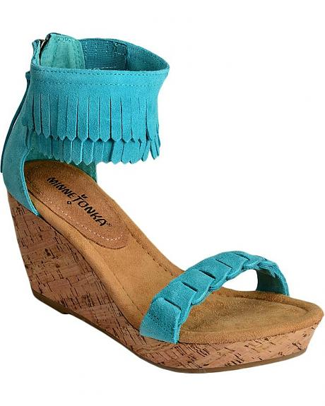 Minnetonka Nicki Ankle Fringe Wedge Sandals