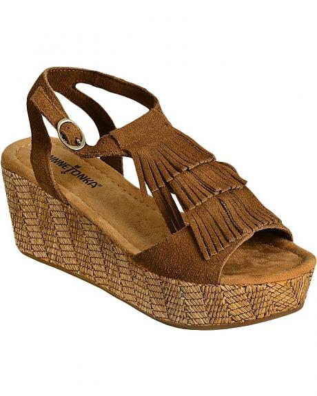 Minnetonka Central Fringe Platform Sandals