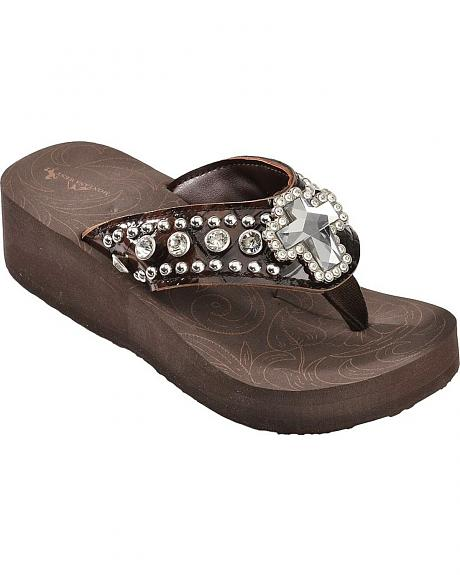 Montana West Croc Print Cross Concho Wedge Sandals