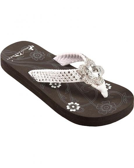 Montana West Floral Rhinestone Ornament Low Wedge Sandals