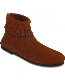 Women's Minnetonka Suede Back Zipper Moccasin Boots