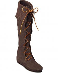 Minnetonka Front Laced Hard Sole Knee-High Fringe Boots