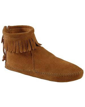 Minnetonka Soft Sole Back-Zip Moccasins