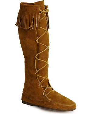 Minnetonka Lace-Up Suede Leather Knee High Boots