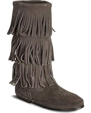 Minnetonka Tall Fringed Boots