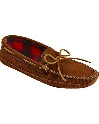 Men's Minnetonka Double Bottom Fleece Moccasins at Sheplers
