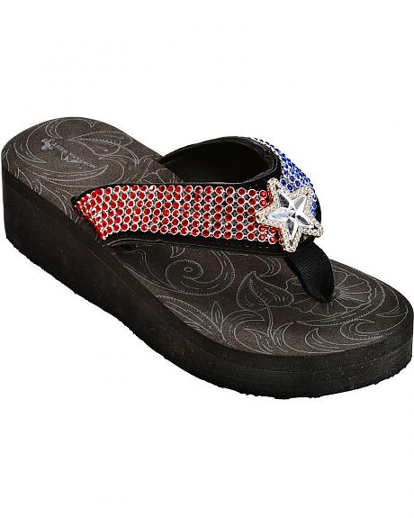 Montana West Rhinestone Embellished Texas Flag Sandals