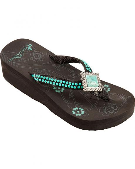 Montana West Turquoise Stone Concho Sandals