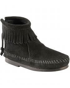 Minnetonka Girls' Suede with Fringe Back Zipper Moccasin Boots