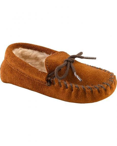 Minnetonka Boys' Pile Lined Slipper Moccasins