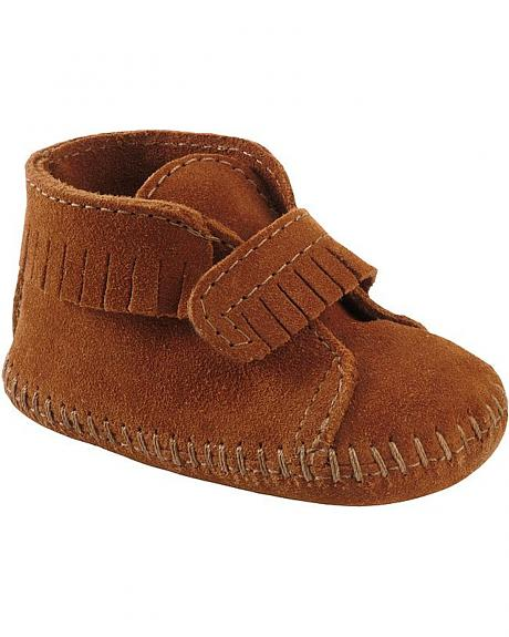 Minnetonka Infant Girls' Fringe with Velcro Strap Bootie