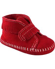Minnetonka Infant Girls' Fringe with Velcro Strap Bootie