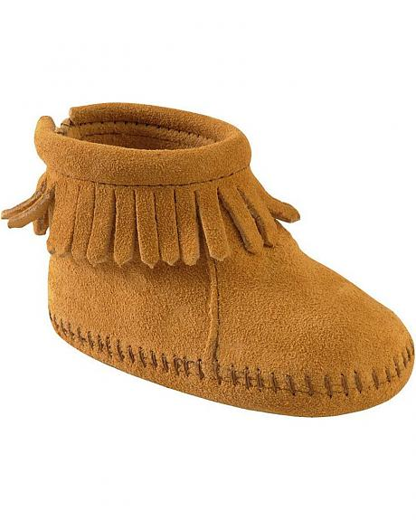 Minnetonka Infant Girls' Suede with Fringe Velcro Back Flap Bootie