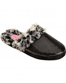 Blazin Roxx Women's Black Sequin Faux Fur Slide Slippers