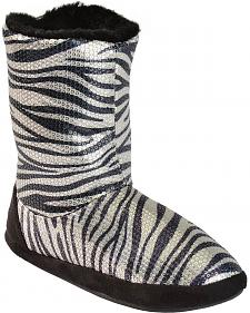 Blazin Roxx Women's Metallic Zebra Slipper Booties