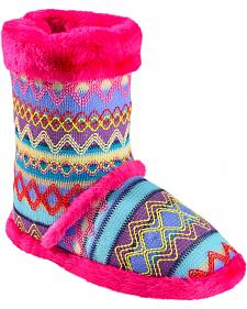 Blazin Roxx Girls' Colorful Woven Slipper Booties