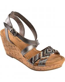 Minnetonka Zoey Metallic Beaded Wedge Sandals
