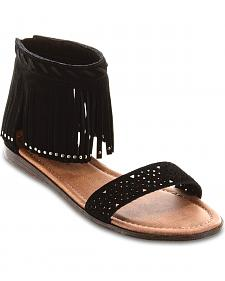 Minnetonka Malibu Black Fringe Sandals
