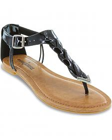 Minnetonka Fiesta Black Braided Thong Sandals