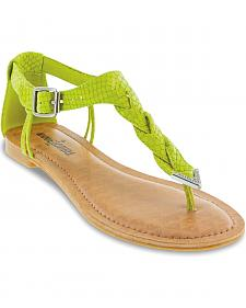 Minnetonka Fiesta Lime Lizard Braided Thong Sandals