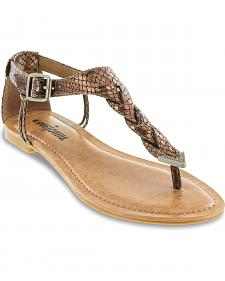 Minnetonka Fiesta Metallic Lizard Braided Thong Sandals