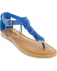 Minnetonka Fiesta Blue Lizard Braided Thong Sandals