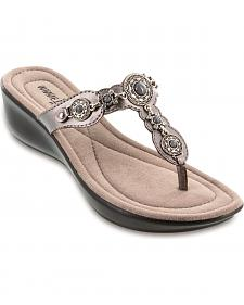 Minnetonka Boca Pewter Thong Sandals