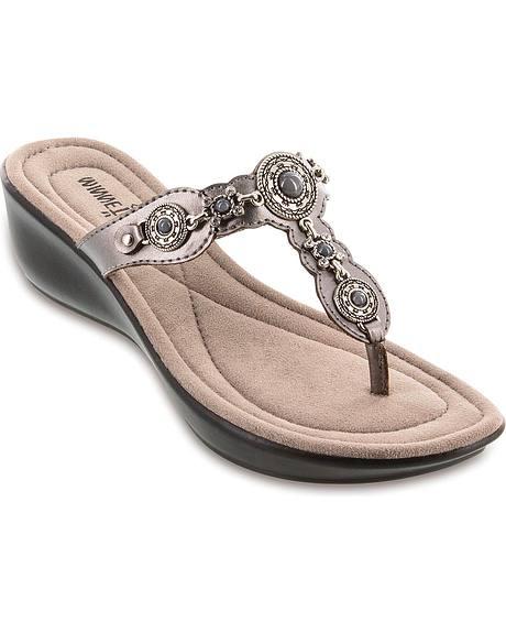 Minnetonka Boca Pewter Thong Sandals