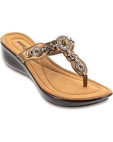 Minnetonka Boca Bronze Thong Sandals