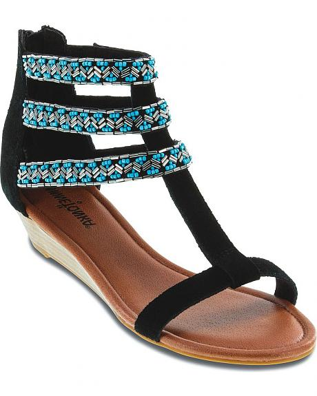 Minnetonka Monte Carlo Beaded 3 Strap Sandals