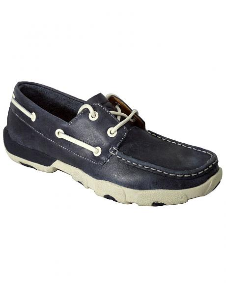 Twisted X Driving Blue Lace-Up Moccasin Shoes - Round Toe