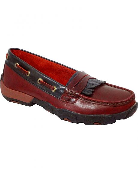 Twisted X Driving Red Lace-Up Moccasin Shoes - Round Toe
