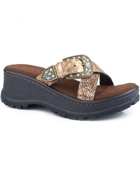 Roper Sport Rhinestone Buckle Wedge Sandals